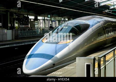 jr500 shinkansen bullet train arriving at shin-kobe station. kobe. honshu island. japan - Stock Photo
