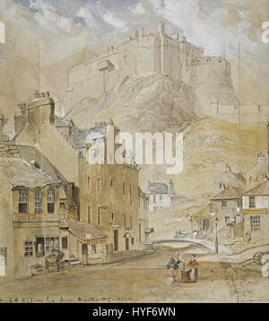 Horatio McCulloch   Edinburgh Castle from the Foot of the Vennel, 1845   Google Art Project - Stock Photo