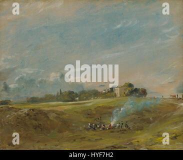 John Constable   Hampstead Heath, with a Bonfire   Google Art Project - Stock Photo