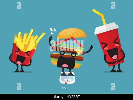 Funny laughing French fries and soft drink character with overweight burger character. Healthy concept - Stock Photo