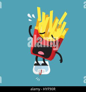 Overweight french fries character on weight scale. Healthy concept - Stock Photo