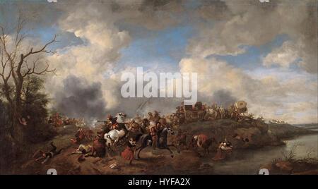 Philips Wouwerman   A cavalry battle   Google Art Project - Stock Photo