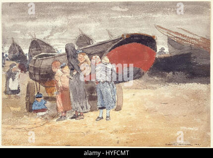 Winslow Homer   Coast Scene, with Boats on the Beach (1881) - Stock Photo