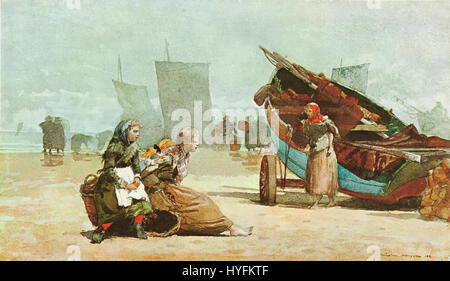 Winslow Homer   Beach scene, cullercoats (1881) - Stock Photo
