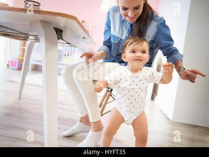 First steps are the most excited - Stock Photo