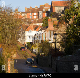 Looking along Southover High Street towards Keere Street, Southover, East Sussex, England - Stock Photo