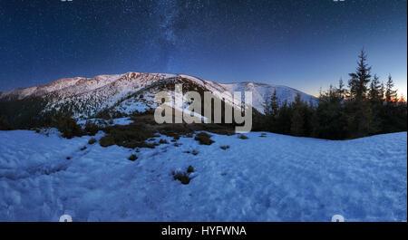 Night mountain panorama in Slovak republic, Low Tatras - Stock Photo