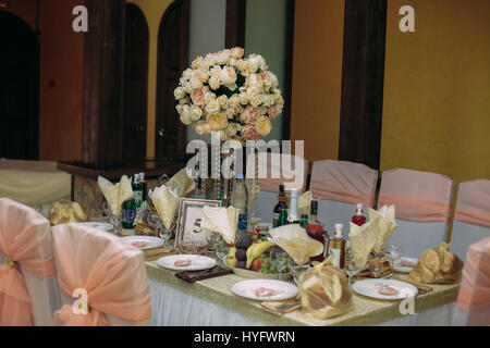 the decoration of the banquet hall for a wedding - Stock Photo