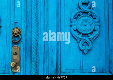 Blue Spanish colonial door in Trinidad, Cuba - Stock Photo