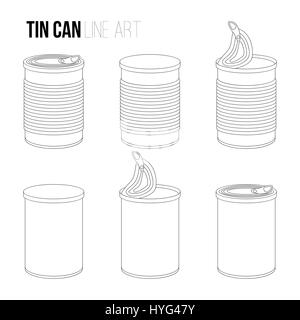 Tincan, canned food line art icons isolated on white tin. Outlines objects set - Stock Photo