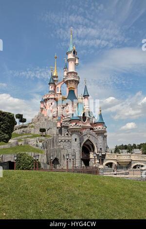 Le Château de la Belle au Bois Dormant (Sleeping Beauty Castle) in Disneyland Paris, Marne-la-Vallée, near Paris, - Stock Photo