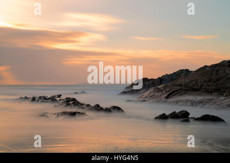 Sunset at Sharrow Point on the Rame Peninsula - Stock Photo