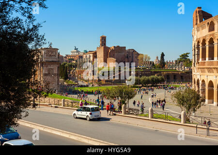 amazing coliseum square view in the city of rome - Stock Photo