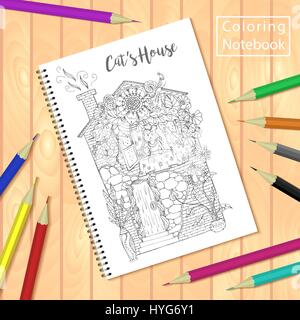notebook spiral bound notepad or coloring book with pencils and picture cats house stock - Coloring Book Paper Stock