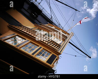 AJAXNETPHOTO. 15th JUNE, 2009. PORTSMOUTH,ENGLAND. - PORT QUARTER STERN GALLERY OF NELSON'S FLAGSHIP H.M.S.VICTORY - Stock Photo
