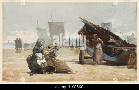 Winslow Homer   Beach scene, cullercoats - Stock Photo