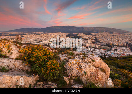 View of Athens from Lycabettus hill at sunset, Greece. - Stock Photo