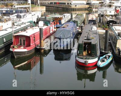 London, United Kingdom, 13, March, 2017, Boats in Limehouse Basin, London, England, UK - Stock Photo