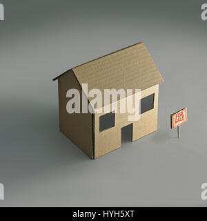 Cardboard House for sale. - Stock Photo