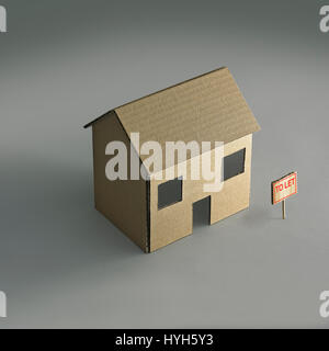 Cardboard House to let - Stock Photo