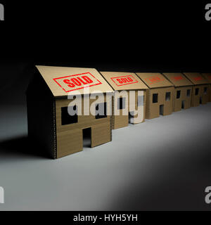 Row of Cardboard Houses all sold. - Stock Photo