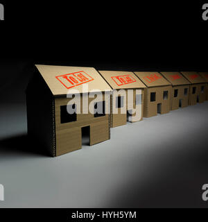 Row of Cardboard Houses all to let - Stock Photo