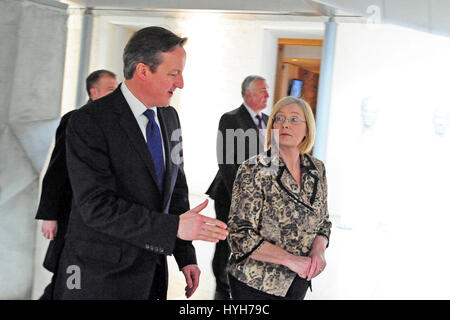 Prime Minister David Cameron in the Garden Lobby of the Scottish Parliament accompanied by the Presiding Officer - Stock Photo