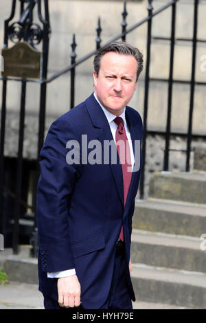 Prime Minister David Cameron arrives at Bute House in Edinburgh for talks with First Minister Nicola Sturgeon