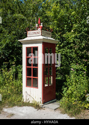 Vintage Telephone kiosk, K1, at the Amberley Working museum, West Sussex, UK - Stock Photo