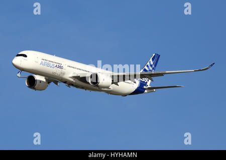 ZHUKOVSKY, MOSCOW REGION, RUSSIA - AUGUST 22, 2015: Airbus A350 perfoming demonstration flight in Zhukovsky during - Stock Photo