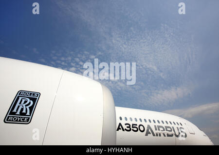 SHEREMETYEVO, MOSCOW REGION, RUSSIA - JUNE 3, 2014: Airbus A350 standing at Sheremetyevo international airport. - Stock Photo