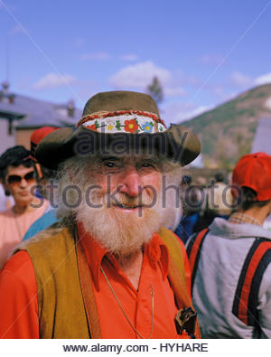 Old timer in Discovery Days crowd at Dawson City Yukon Territory Canada. - Stock Photo