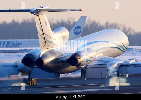 VNUKOVO, MOSCOW REGION, RUSSIA - MARCH 23, 2013: Gazpromavia Tupolev Tu-154M touchdown at Vnukovo international - Stock Photo