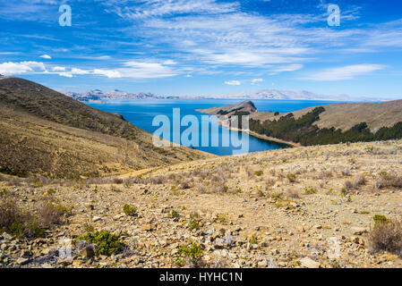 Scenic dramatic sky in winter season at Challapampa Bay on Island of the Sun, Titicaca Lake, among the most scenic - Stock Photo