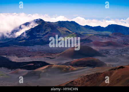 Scenic view of volcanic landscape and craters, Haleakala national park, Maui, Hawaii, USA - Stock Photo