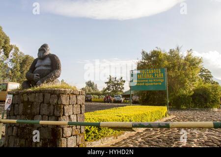 Volcanoes National Park, Rwanda - March 2, 2017 : Entrance sign to Volcanoes National Park Kinigi Headquarters with - Stock Photo