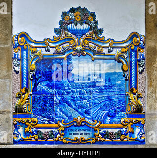 Hand-painted ceramic tiles, azulejos, depicting scenes from the local grape vine cultivation in the Douro Valley, - Stock Photo