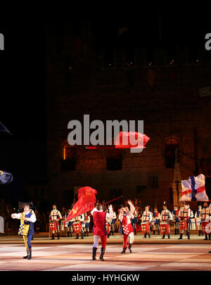 Marostica, VI, Italy - September 9, 2016: flag throwing during a live show in the main square