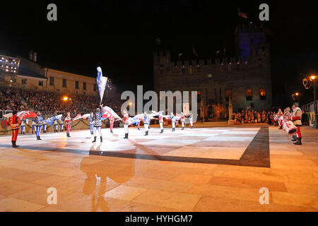 Marostica, VI, Italy - September 9, 2016: flag bearers during a live show in the main square called Piazza degli Scacchi