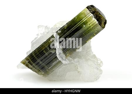 deep green tourmaline with some quartz matrix found in Skardu/ Pakistan - Stock Photo
