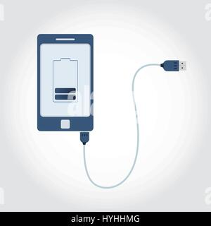 Phone plugged in USB cable. Battery symbol on monitor showing charge level. Flat design. - Stock Photo