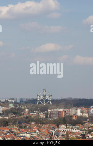 Aerial view of Brussels with the Atomium in the background - Stock Photo