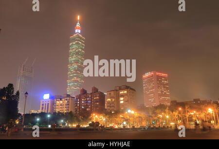 Taipei night cityscape in Taipei Taiwan - Stock Photo