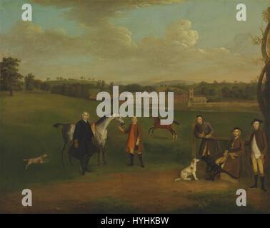 Arthur Devis   Leak Okeover, Rev. John Allen and Captain Chester at Okeover Hall, Staffordshire   Google Art Project - Stock Photo