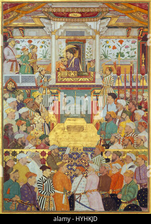 Bichitr   Padshahnama plate 10   Shah Jahan receives his three eldest sons and Asaf Khan during his accession ... - Stock Photo