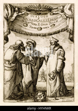 Frontispiece showing Aristotle, Ptolemy and Copernicus from 'Dialogo di Galileo Galilei Linceo, matematico sopra - Stock Photo