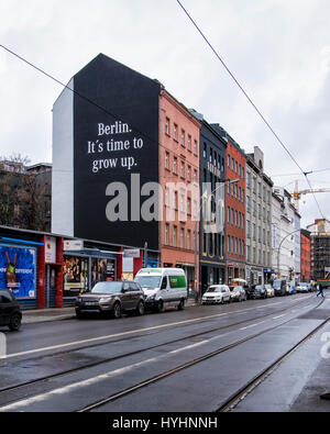 Berlin, Mitte. Mercedes Benz mural advertisement with advertising slogan 'Berlin it's time to grow up'. Luxury motor - Stock Photo