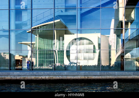 Berlin Government buildings.A reflection of the Marie-Elisabeth-Lüders-Haus in the Paul-Löbe-Haus.The modern buildings - Stock Photo