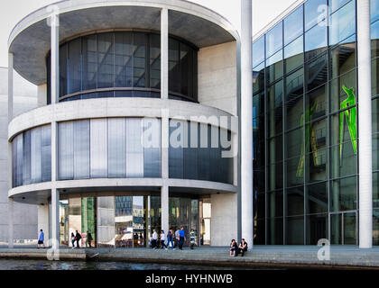 Berlin Government buildings. Paul-Löbe-Haus.The modern buildings next to the river Spree. Modern glass & concrete - Stock Photo