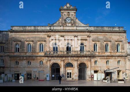 Town hall, Piazza della Libertà, Ostuni, Puglia, Italy, Europe - Stock Photo